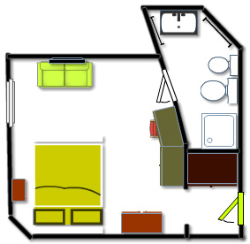 Yellow room plan - triple room